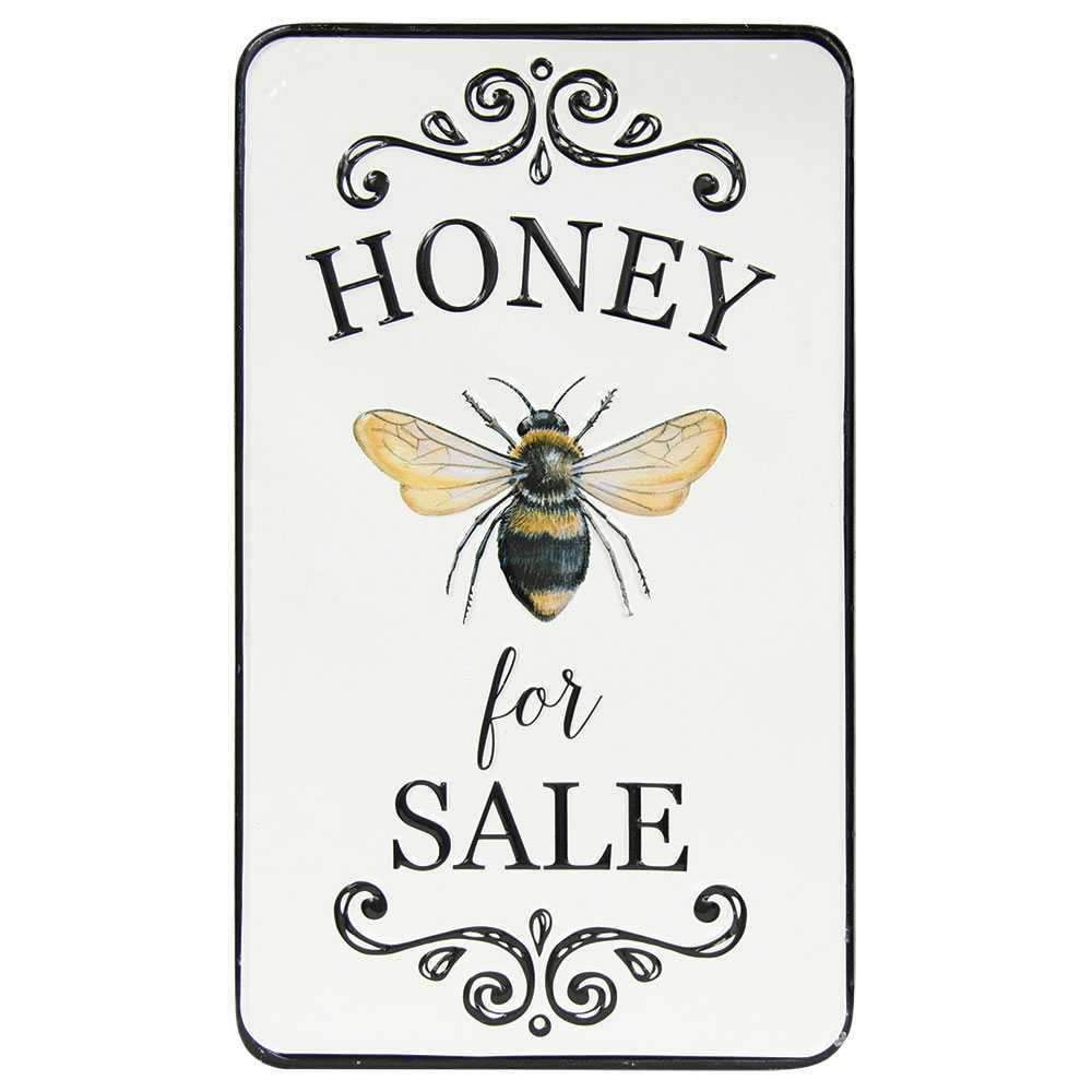 Honey For Sale Bee Sign Distressed Embossed Metal