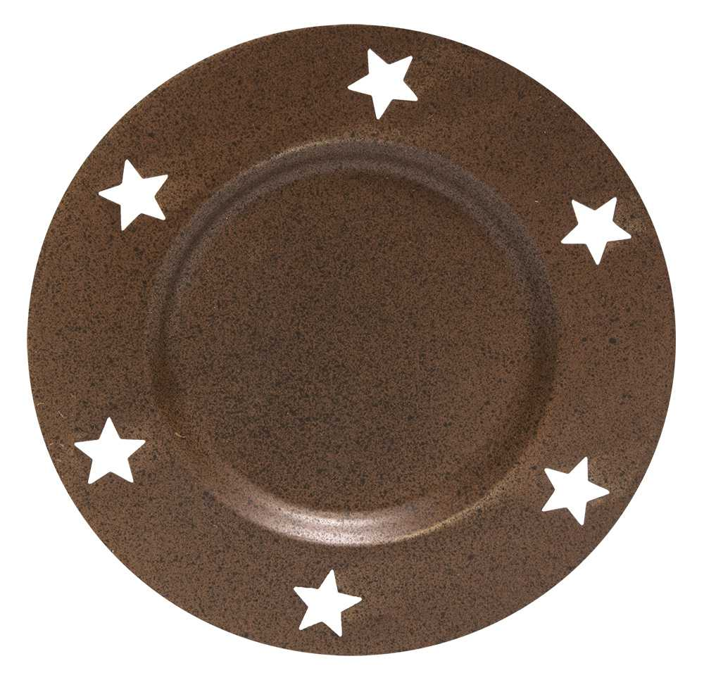 Metal Products Candle Pan W Star Cutout Rusty 6