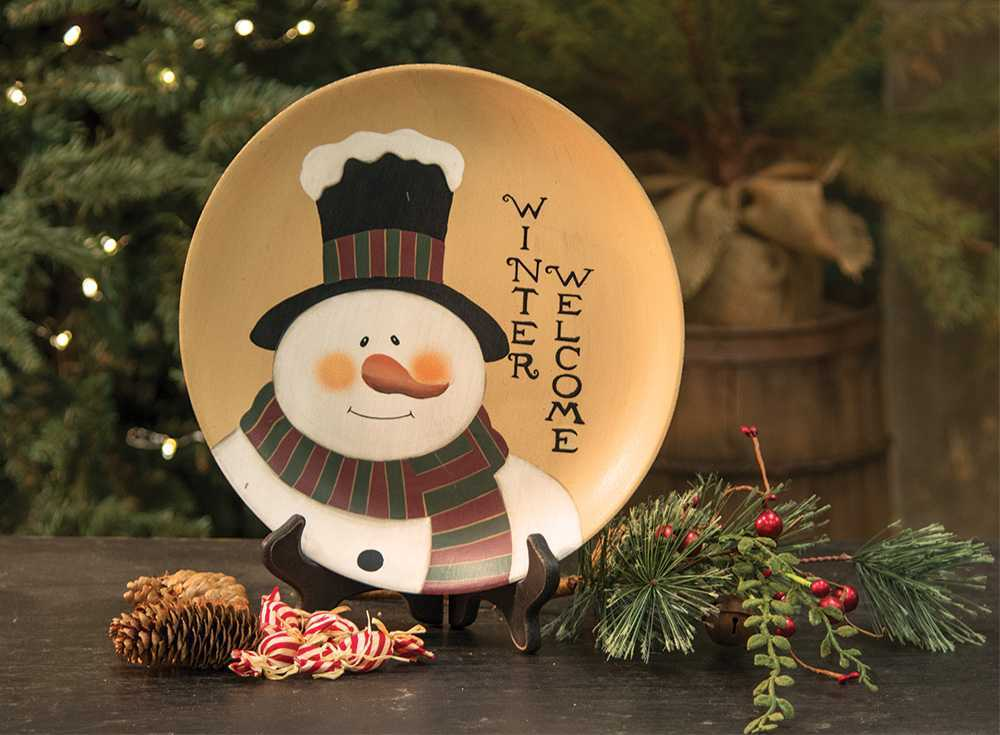 Decorative Plates Snowman Plate Welcome Winter The