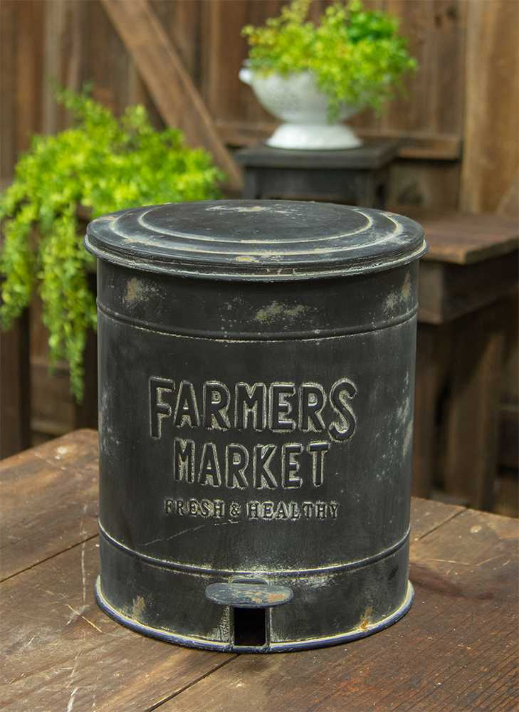 Farmers Market Metal Trash Bin