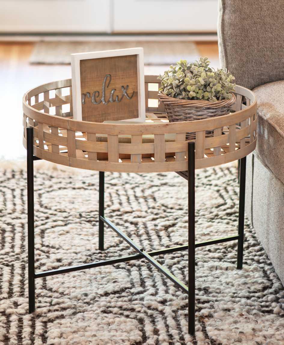 En Round Basket Weave Coffee Table