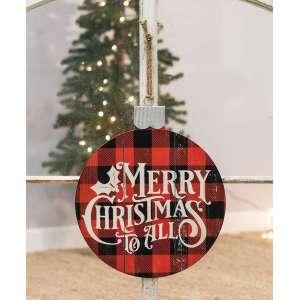 Merry Christmas Buffalo Check Ornament - 70037