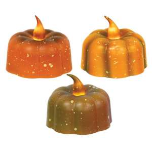 Pumpkin Tealight with Bulb - 3 assorted - 84662