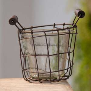 "Metal Wire Basket with Glass Jar - 4.5"" - # QX18119"