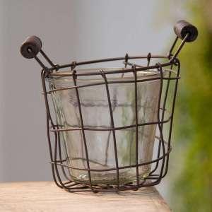 """Metal Wire Basket with Glass Jar - 4.5"""" - # QX18119"""