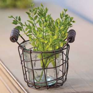 "Metal Wire Basket with Glass Jar - 4"" - QX18120"