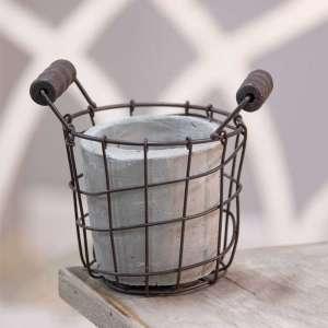 "Classic Cement Planter w/ Rustic Wire Basket 5.5"" - # QX18136"