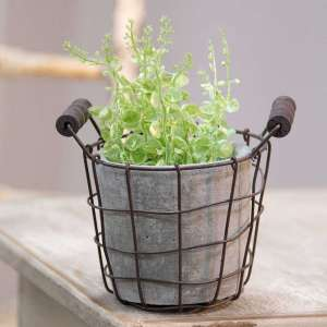 Classic Cement Planter with Rustic Wire Basket - # QX18137