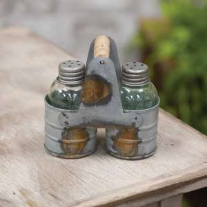 Galvanized Salt & Pepper Caddy with Shakers - # 13940