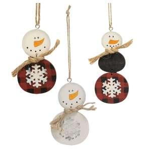 Buffalo Check Snowman Ornament - 3 asst - # 34678
