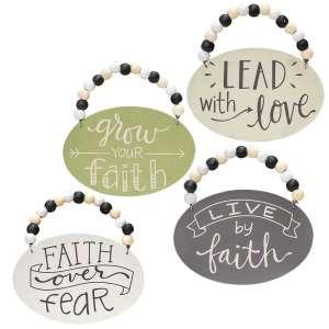 Faith Over Fear Beaded Ornament - 4 asst - # 34750