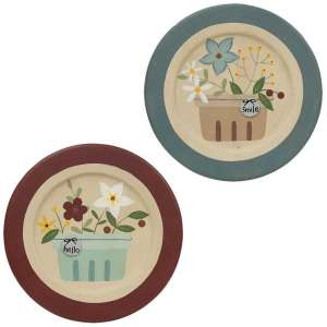 Hello and Smile Strawberry Basket Plate - 2 asst - # 34754