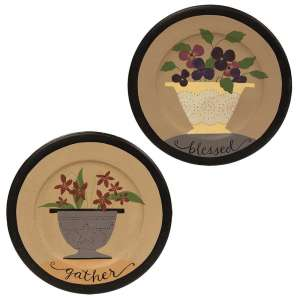 Gather and Blessed Floral Plate - 2 asst - # 34768