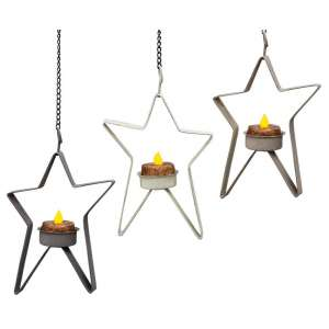 Star Tealight Holder- Stoneware Colors - 3 asst - 46352