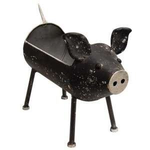 Distressed Black Pig Planter - #60310