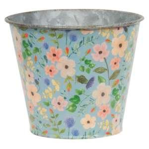 Vintage Blue Floral Metal Bucket - # 60312
