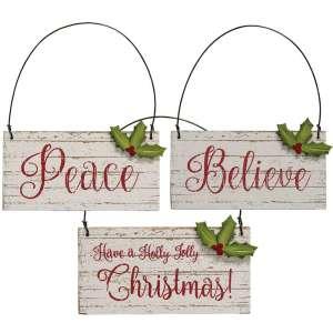 Holly Jolly Christmas Ornament - 3 asst - 90729