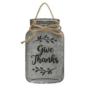 Give Thanks Metal Mason Jar Ornament - # 90778