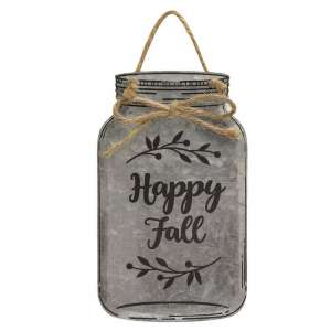 Happy Fall Metal Mason Jar Ornament - 90779