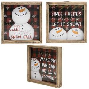 Watch the Snow Fall Framed Buffalo Check Sign - 3 asst - # 34659