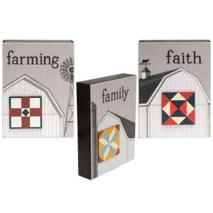 Faith, Family, Farming Quilt Star Box Sign - 3 asst - # 34802