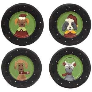 Christmas Dog Plates - 4 Asst - # 35082