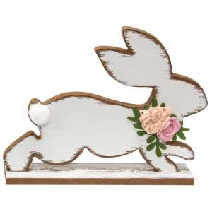 Distressed White Running Easter Bunny - # 90841