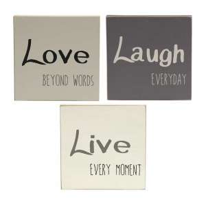 Live, Love, Laugh Block - Farmhouse Colors, 3 asst. #34447