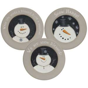 Happy Snowman Rimmed Plate, 3 asst. #34913