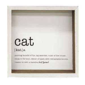 Cat Definition Shadow Box Sign #34920
