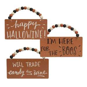 Happy Hallowine Beaded Ornaments - 3 Asst #35091