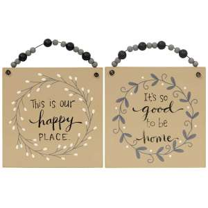 Happy Place Beaded Hanging Sign 2/Asst #35103