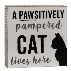 Pawsitively Pampered Cat Box Sign #35146