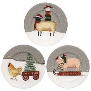 Farm Animal Winter Plate - 3 Asst - # 35177
