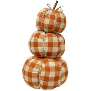 Orange Buffalo Check Pumpkin Stack #CS37719