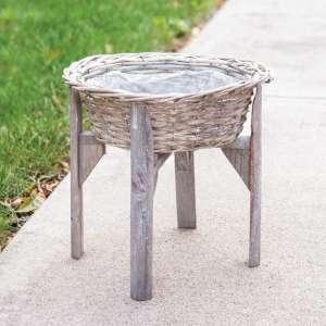 Gray Split Willow Basket Stand #bb8s3082