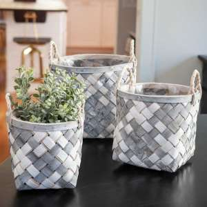 White and Gray Wooden Baskets, 3/Set #bb8s349