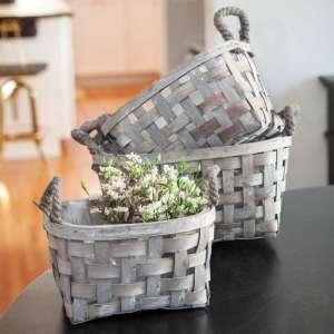 Gray Open Weave Baskets, 3/Set #Bb8s375