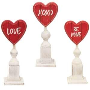 Be Mine Wooden Heart Pedestals, 3 Asst. #90589