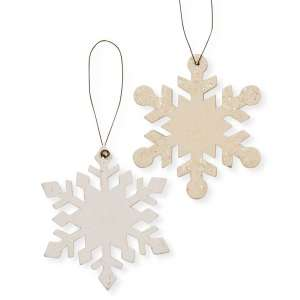 Wood Snowflake Ornament, 2 Asstd. #35028