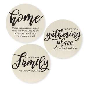 Home Sayings Round Sign, 3 Asstd. #35222