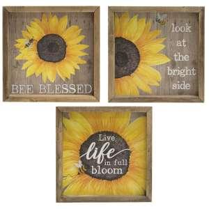 Bee Blessed Sunflower Box Sign, 3 Asstd. #35236