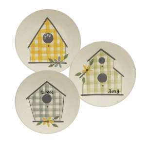 Plaid Birdhouse Plate, 3 Asstd. #35254