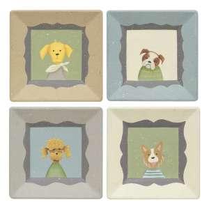 Pup Portrait Square Plate, 4 Asstd. #35268