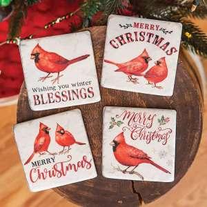 #65146 Christmas Cardinals Resin Coasters, 4/set