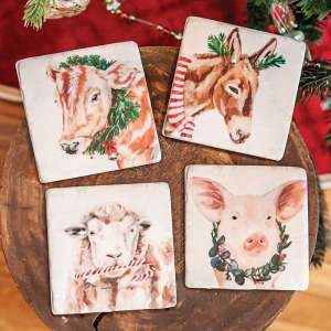 #65147 Christmas Farm Animals Resin Coasters, 4/Set