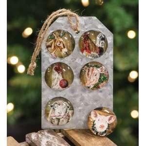 #65149 Christmas Farm Animal Magnets, 6/Set