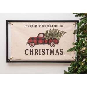 #65155 Christmas Buffalo Check Truck Fabric Sign
