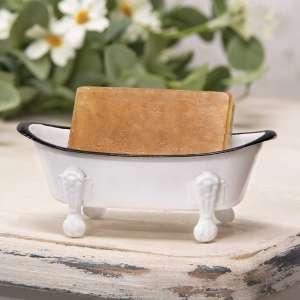 #70059 White Iron Bathtub Soap Dish