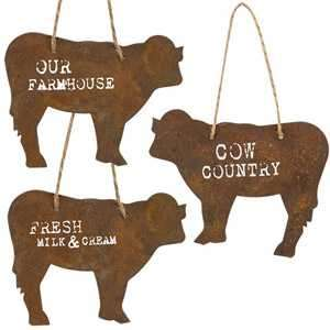 #G97173A Country Cow Corrugated Ornament, 3 Asstd.